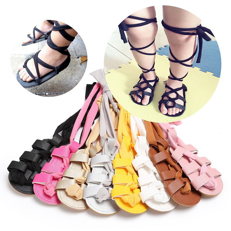 New Fashion Newborn Infant Baby Girls PU Leather Bandage Sandals Summer Pram Flat Shoes