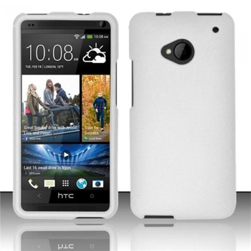 Insten White Rubberized Hard Case Cover For HTC One M7