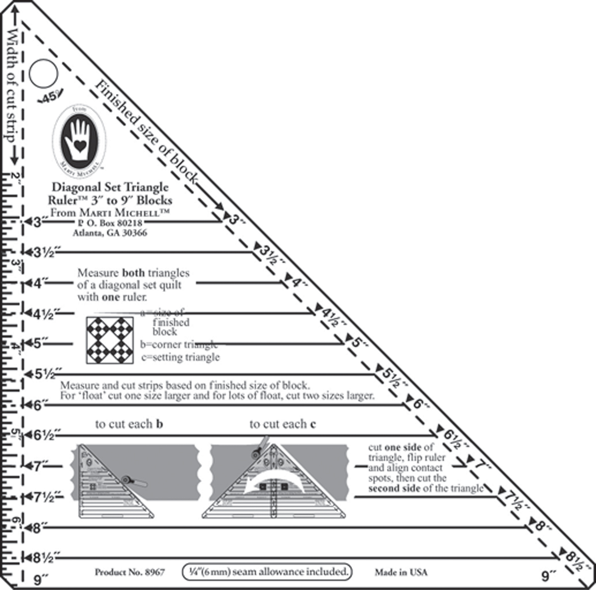 "Small Diagonal Set Triangle Ruler-3"" To 9"" Blocks"