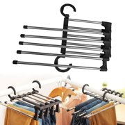 EEEKit 5 in 1 Foldable Pants Hangers, Closet Organizer Hanger Space Saver for Pants Trousers Tie Belt, 5 Layer Adjustable Stainless Steel Pants Rack for Wardrobe,Home Storage and Organizer-White/Black