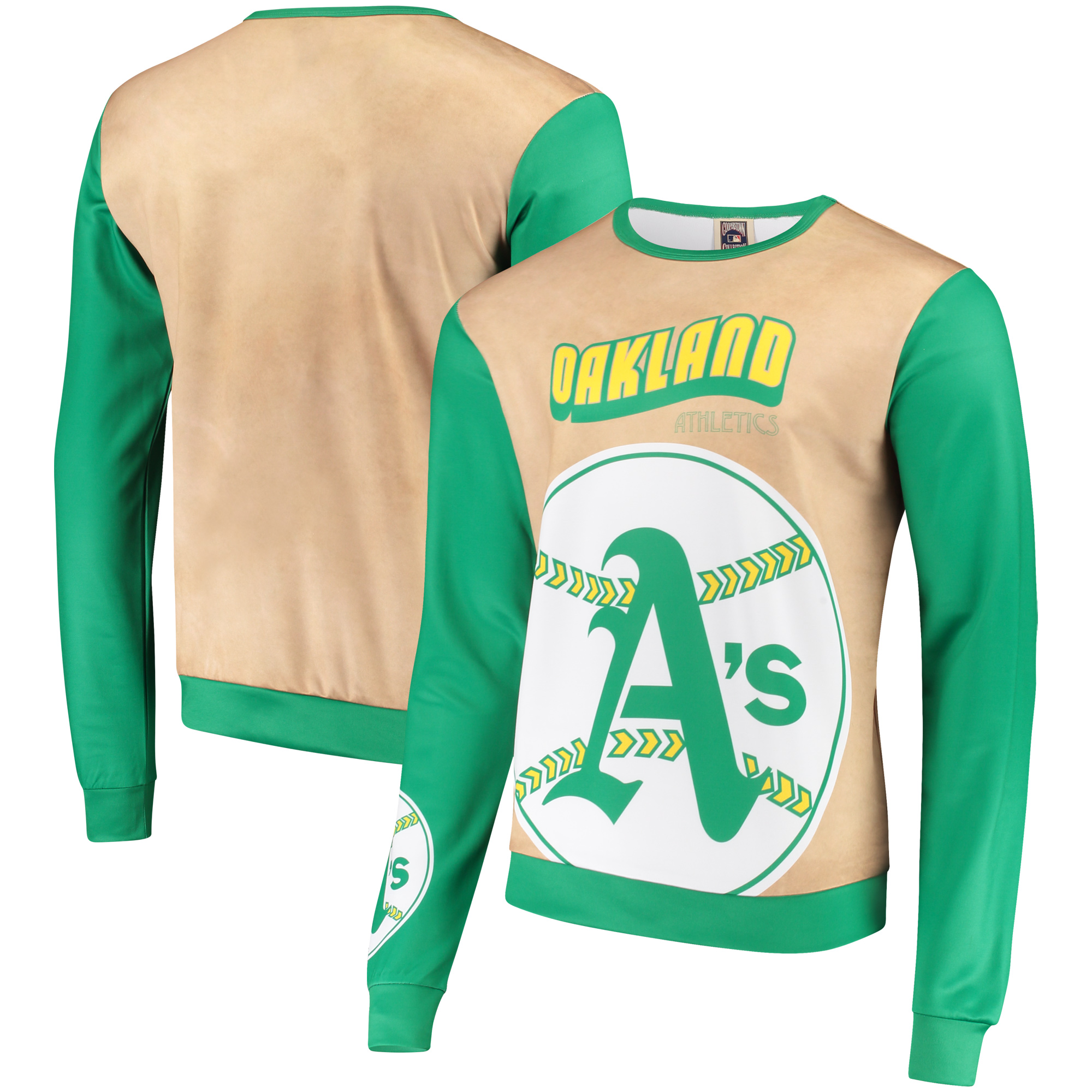 Oakland Athletics Sublimated Crew Neck Sweater - Tan/Green