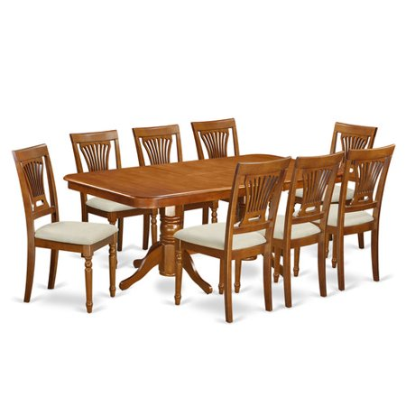 August Grove Pillsbury Modern 9 Piece Dining Set With Double Pedestal Table Legs