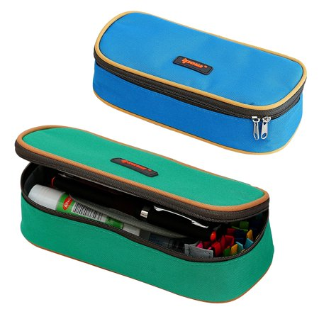 2 Pack Pencil Case, IPOW Canvas Pencil Boxes Double Zipper Pencil Pouch Bag Big Capacity Pen & Pencil Box Organizer for Kids Gilrs Boys, Perfect for School and Office Stationery Storage, Blue & Green](Kids Pencil Case)