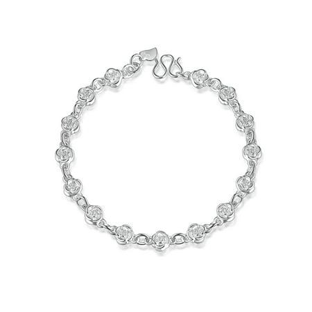 Emma Manor Charm Bracelets 14k Gold Plated Rose Link Bracelets For Women Ecco Womens Charm