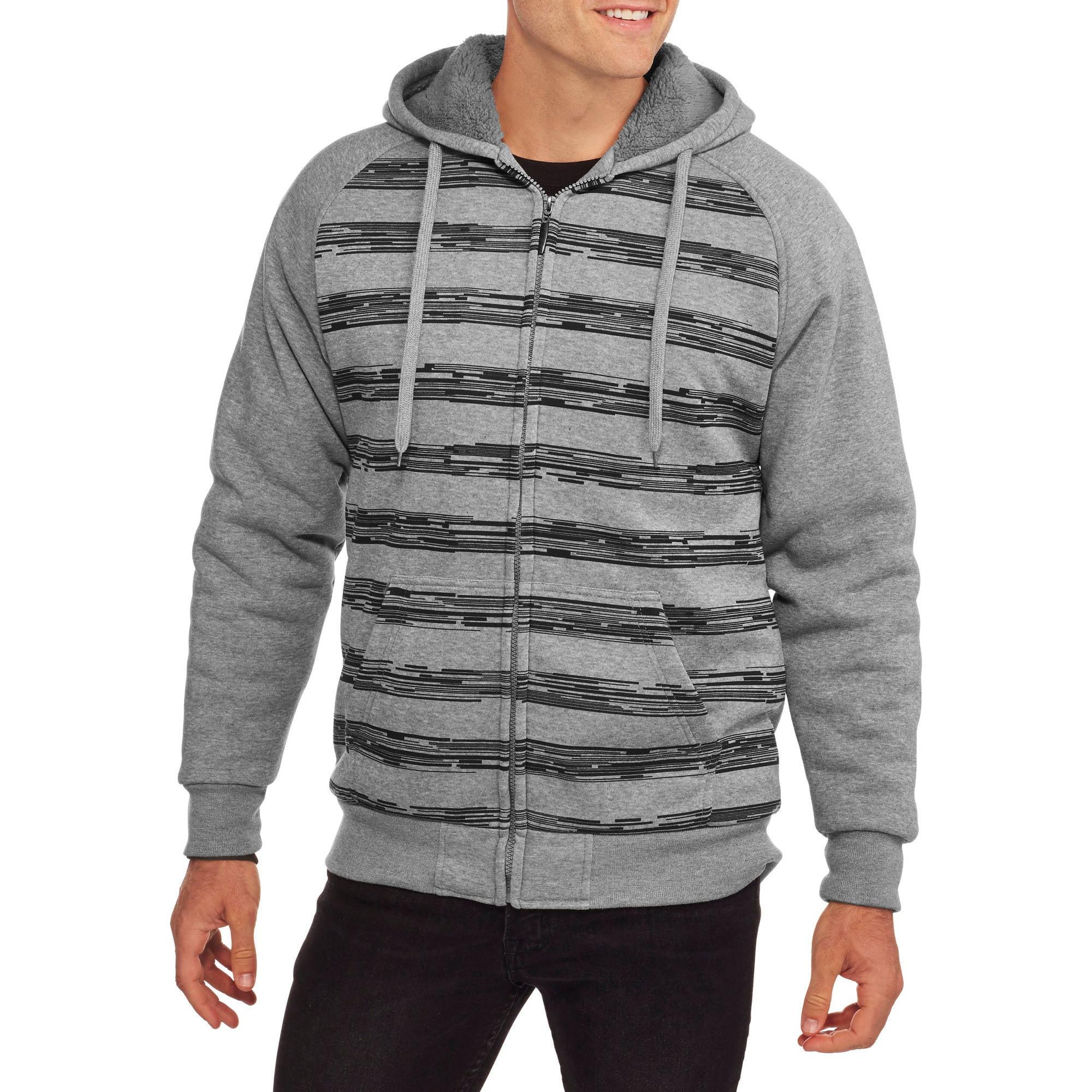 Climate Concepts Big Men's Stripe Fleece Sherpa Hoodie