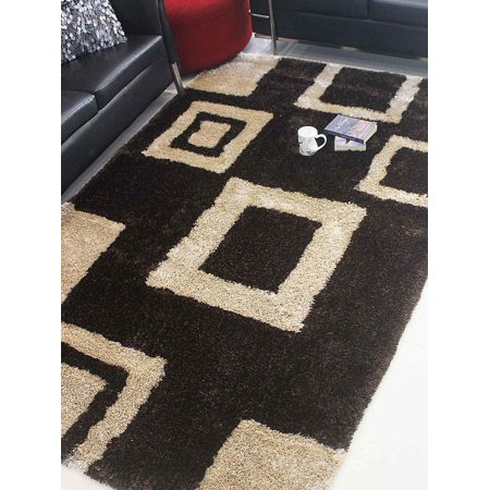 Rugsotic Carpets Hand Tufted Polyester 6'x9' Shag Area Rug Geometric Brown Beige K00001 ()
