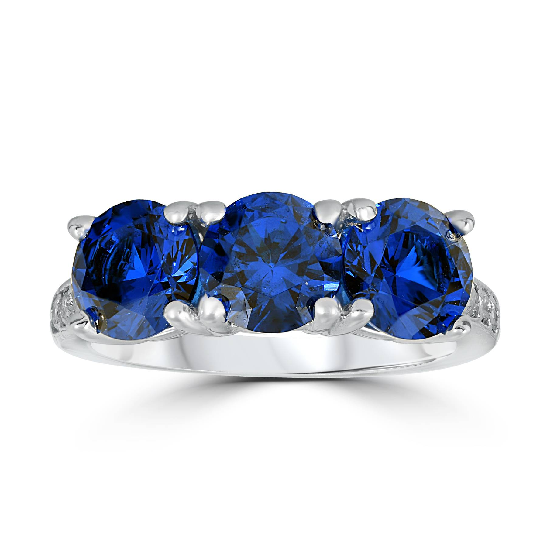 3 3/4ct Diamond & Synthetic Blue Sapphire Ring 10K White Gold 3- Stone - image 3 of 3