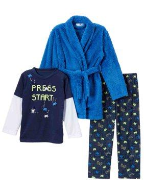 Toddler Boys Plush Blue Gamer Hoodie Bath Robe & Pajamas Sleep Set