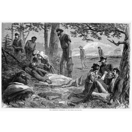 Civil War Wounded Nvolunteers Of The Christian Commission Give First Aid To Wounded Union Soldiers At A Battlefield During The American Civil War Wood Engraving From A Northern American Newspaper Of 1