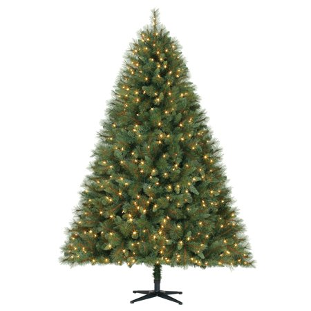 Holiday Time 7.5ft Pre-Lit Prescott Pine Artificial Christmas Tree with 600  LED Clear Lights - Green - Walmart.com - Holiday Time 7.5ft Pre-Lit Prescott Pine Artificial Christmas Tree