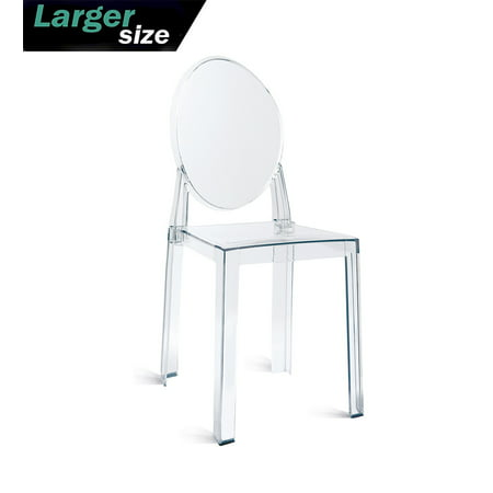 2xhome Large Size Clear Crystal Mid Century Modern Contemporary Ghost Side Chair Dining Room Chair Victoria Accent Seat Living No Arms Wheels Armless With Back Transparent Guest Office Work ()