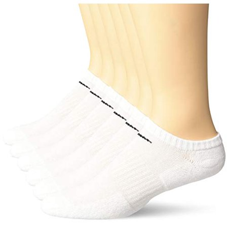 Nike Everyday Cotton Cushioned No Show Socks, White, Large (Pack of 6 Pair) ()