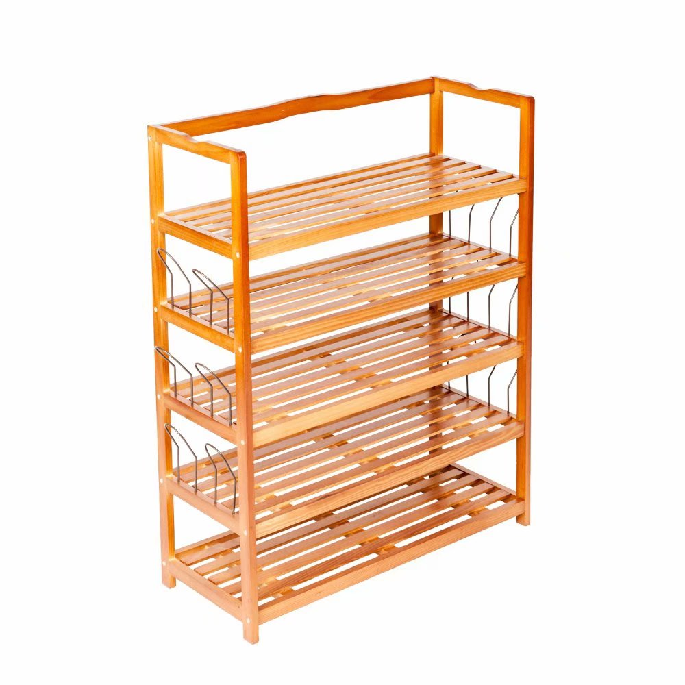 Clearance!5-Tier Simple Wooden Shoe Rack with 6 Pair Shoe Form Wood Color