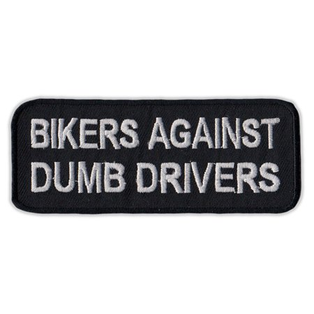 """Motorcycle Jacket Embroidered Patch - Bikers Against Dumb Drivers - Vest, Cut, Leathers - Funny - 4"""" x 1.5"""""""