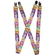 "Pony Faces Close Up Blocks Suspenders   1.0"" Wide"