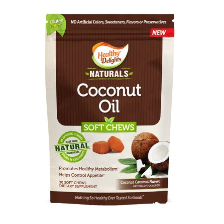 Healthy Delights Naturals, Coconut Oil Soft Chews, Coconut Caramel Flavor, 30 Count ()