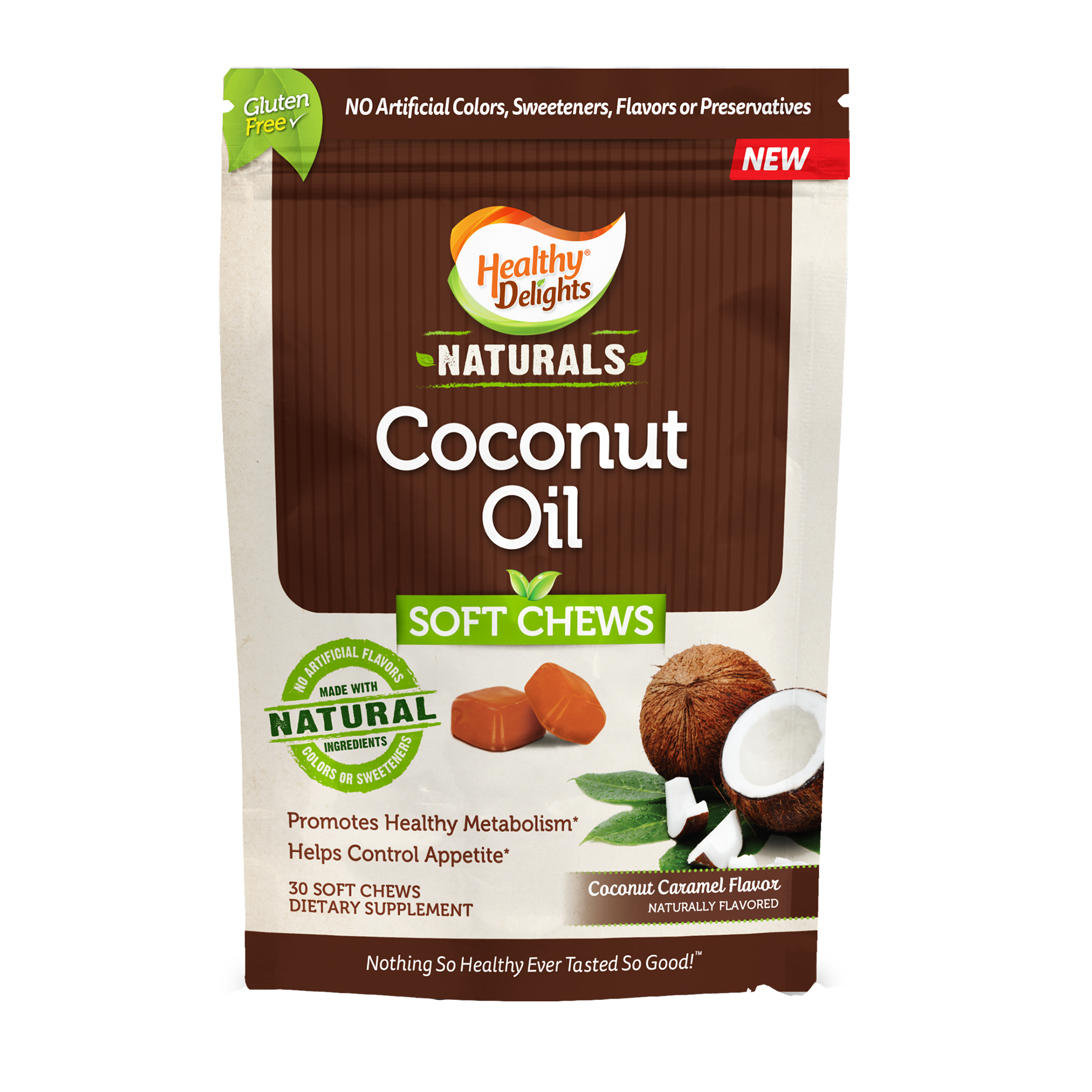 Healthy Delights Naturals, Coconut Oil Soft Chews, Coconut Caramel Flavor, 30 Count