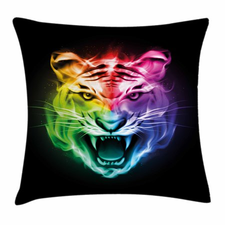 Tiger Throw Pillow Cushion Cover, Multicolored Abstract Display Large Feline Blazing Spectrum of Fire Rainbow Color, Decorative Square Accent Pillow Case, 18 X 18 Inches, Multicolor, by - Blaze Halloween Display