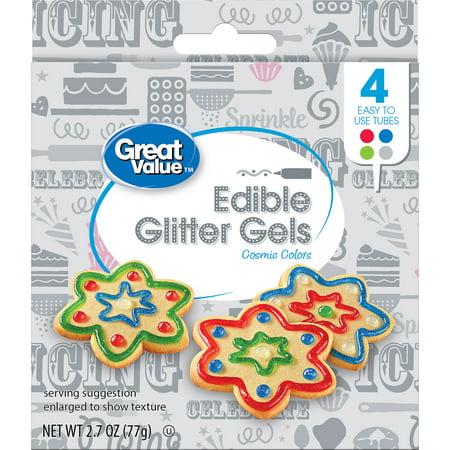 (3 Pack) Great Value Edible Glitter Gels, Cosmic Colors, 4 Count](Edible Pens)
