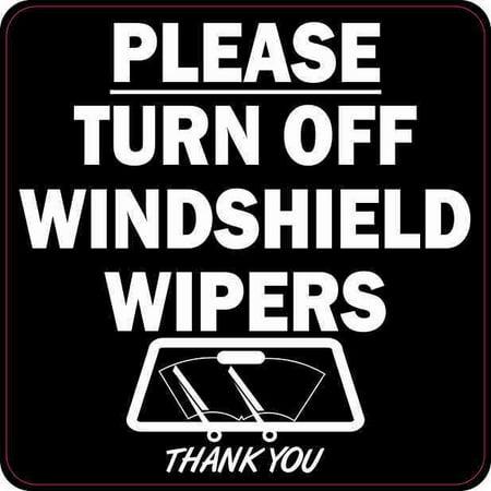 Vehicle Windshield - 4 x 4 Black Turn Off Windshield Wipers Sticker Car Truck Vehicle Bumper Decal