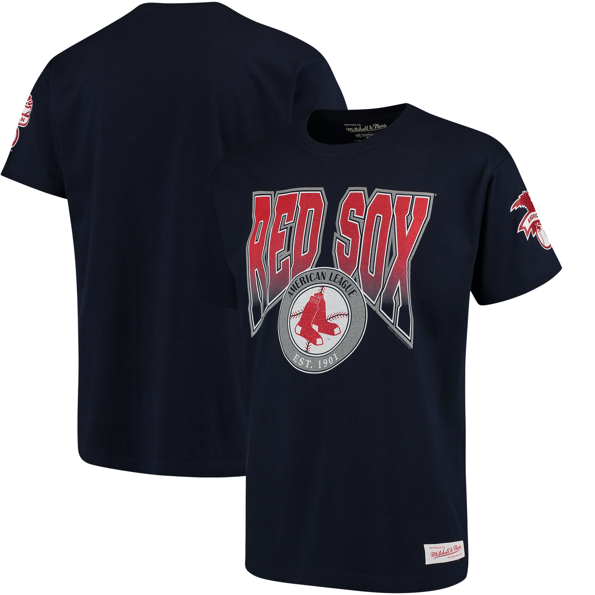 Boston Red Sox Mitchell & Ness Play By Play Traditional T-Shirt - Navy