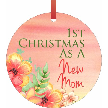 1st Christmas as a New Mom Double Sided Flat Round Shaped Ornament Xmas Tree Christmas Décor - Christmas Room Décor and Ornament Yard Decorations