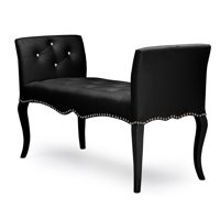Baxton Studio Kristy Black Faux Leather Classic Seating Bench