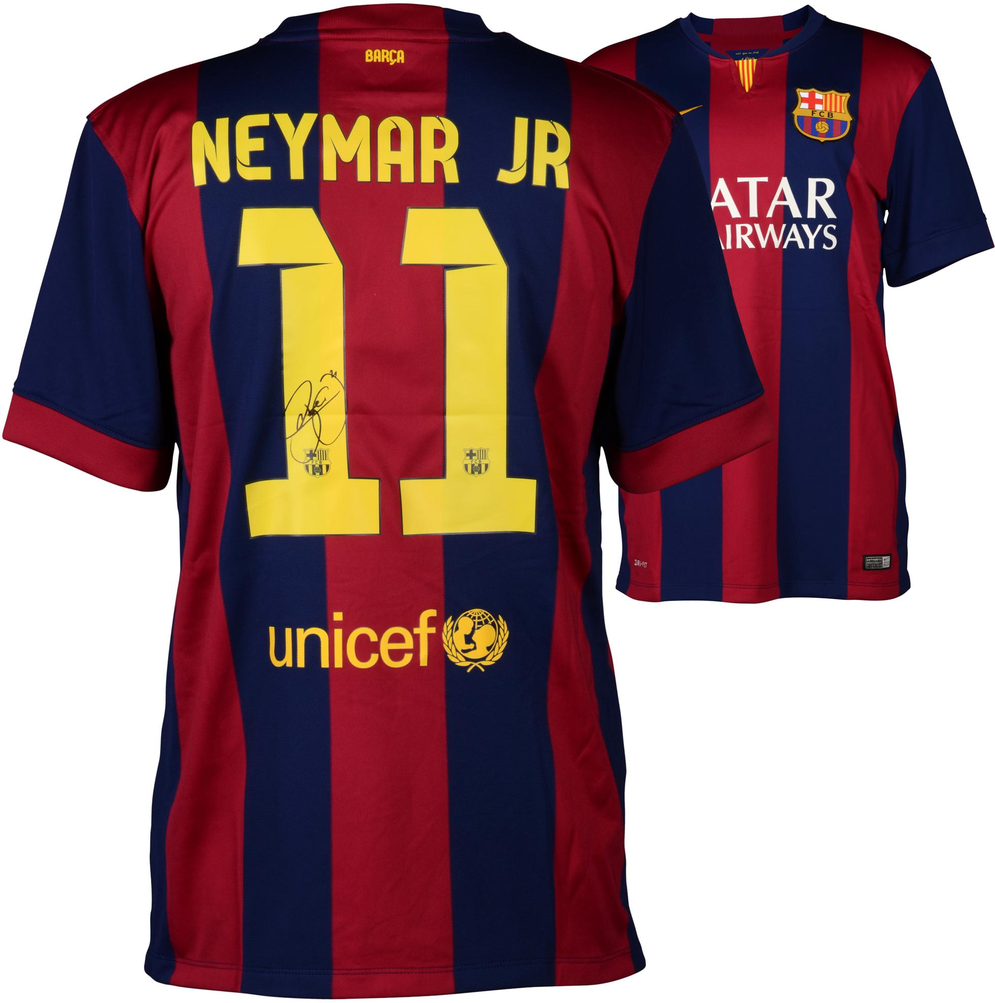 Neymar FC Barcelona Autographed Red & Blue Jersey - Fanatics Authentic Certified
