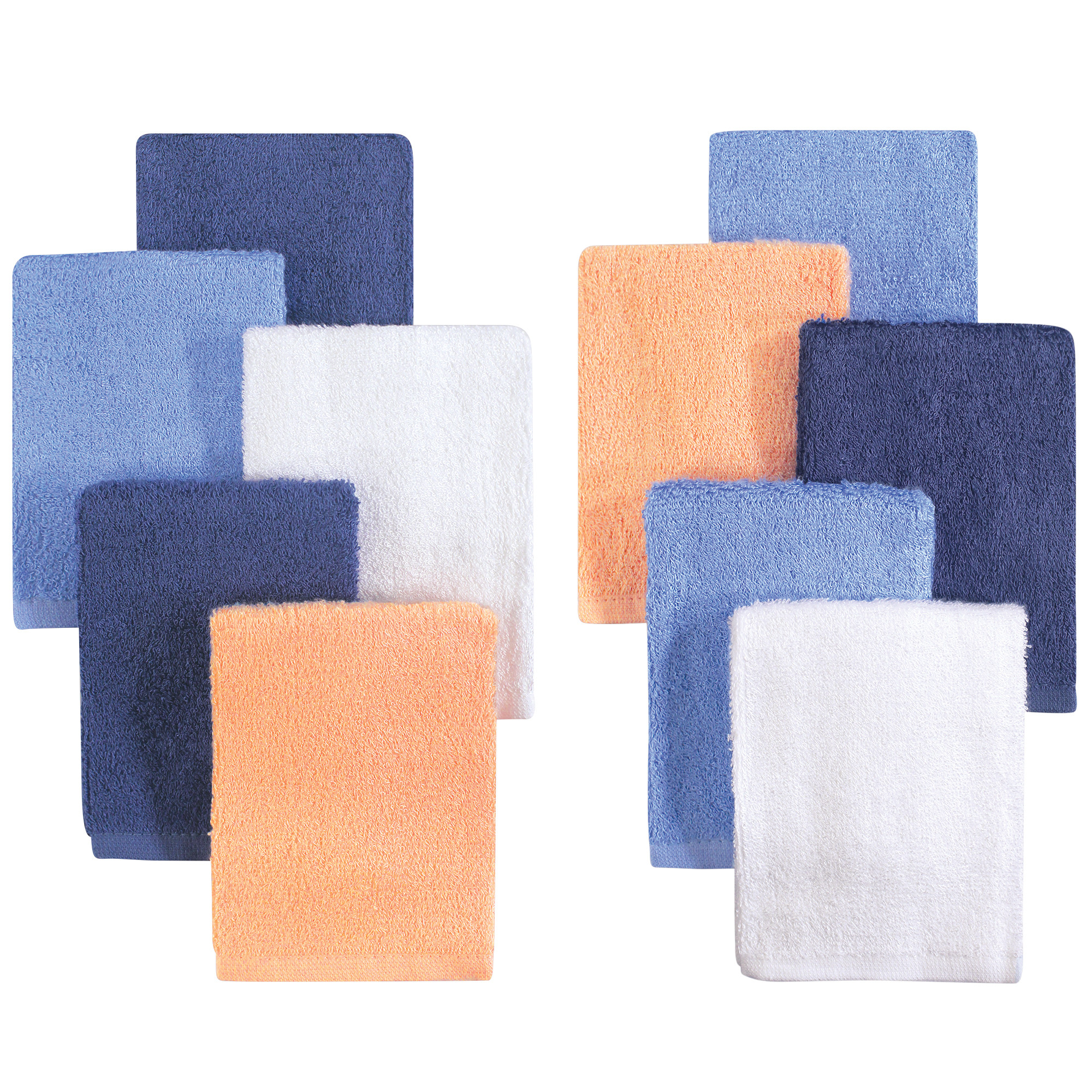Little Treasure Baby Boy and Baby Girl Luxuriously Soft Washcloths, 10 Pack, Blue Orange
