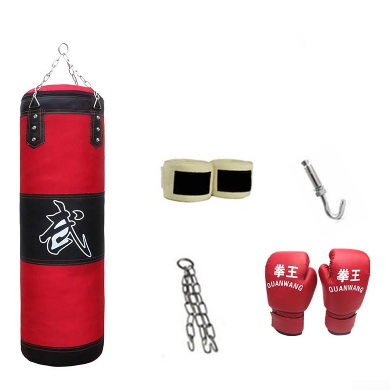 Full Heavy Boxing Set Empty Punching Bag Gloves Training MMA Taekwondo Workout