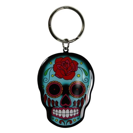 Sunny Buick - Trendy Rose Sugar Skull High Quality Metal KEYCHAIN - 1.75