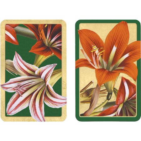 Entertaining with Caspari Double Deck of Bridge Playing Cards, Amaryllis - image 1 of 1