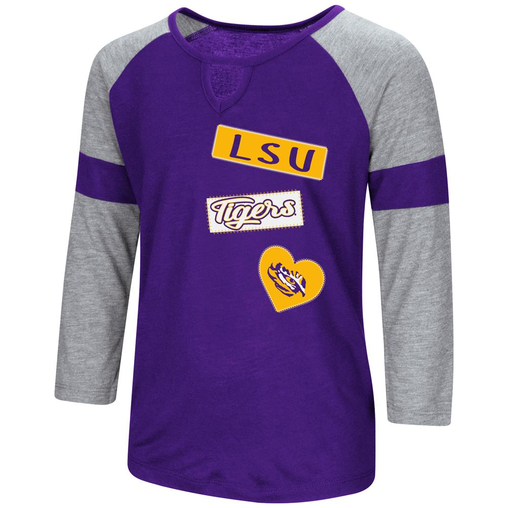 LSU Tigers Louisiana State Youth Girls 3/4 Sleeve All You Need Tee