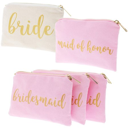 Set of 5 Bridesmaid Makeup Bags, Maid of Honor Bride Canvas Cosmetic Gift Pouches for Bridal Shower, Bachelorette Party, Wedding Favors, Pink & White