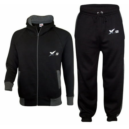 X-2 Mens Athletic Full Zip Fleece Tracksuit Jogging Sweatsuit Activewear Top Black Small