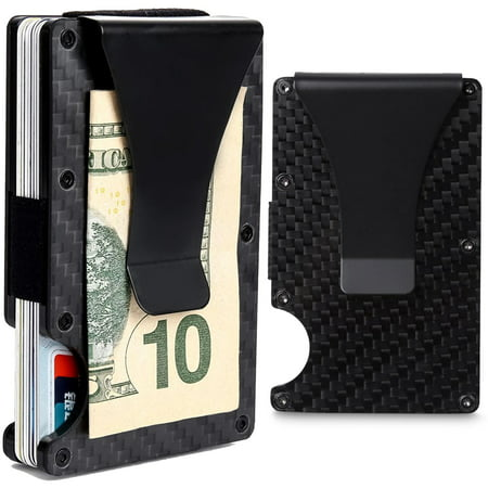 Business Card Money Clip (CoreLife RFID Blocking Money Clip with Credit Card Holder Slim Fit Aluminum Carbon Fiber Design)