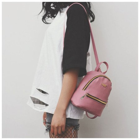 Women Backpack Purse Pu Washed Leather Ladies Rucksack Shoulder Bag Pink - image 1 of 9