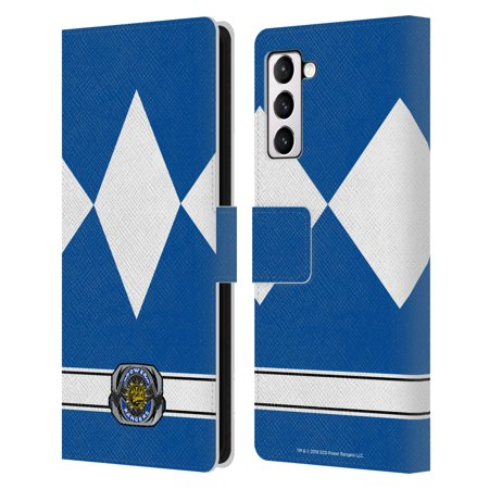 Head Case Designs Officially Licensed Power Rangers Retro Costumes Blue Ranger Leather Book Wallet Case Cover Compatible with Samsung Galaxy S21+ 5G