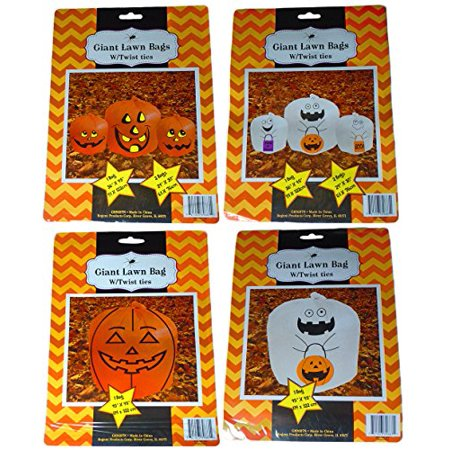 Set Of 4 Halloween Decorative Giant Lawn Bags With Twist Ties (Pumpkin & Ghost)](Giant Blow Up Cat Halloween)
