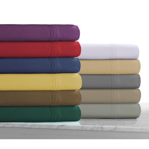 Super Soft Solid Deep Pocket Easy-Care Sheet Set with Oversize Flat Queen - Deep Red