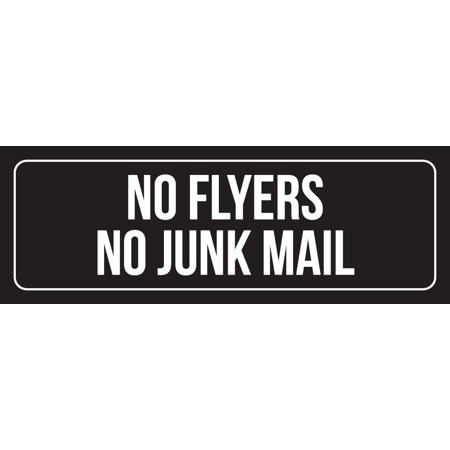 black background with white font no flyers no junk mail metal wall