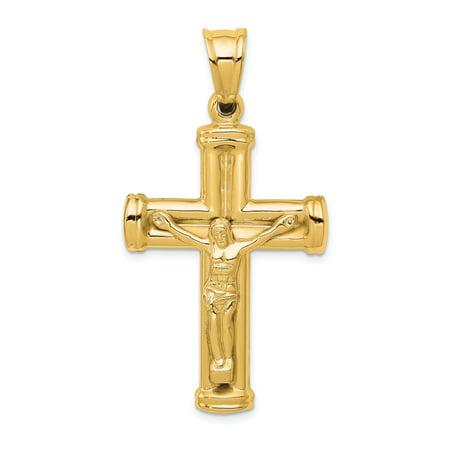 14k Yellow Gold Reversible Crucifix /cross Pendant Charm Necklace Religious Cross Latin