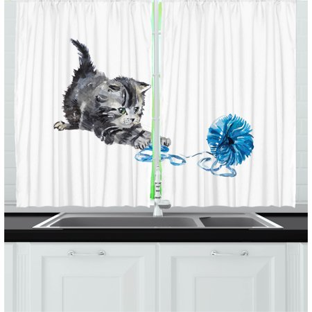 Cat Curtains 2 Panels Set, Playful Baby Kitten with Ball of Yarn Furry Animal Domestic Feline Kids Pets Artwork, Window Drapes for Living Room Bedroom, 55W X 39L Inches, Grey Blue, by Ambesonne - Artwork For Kids