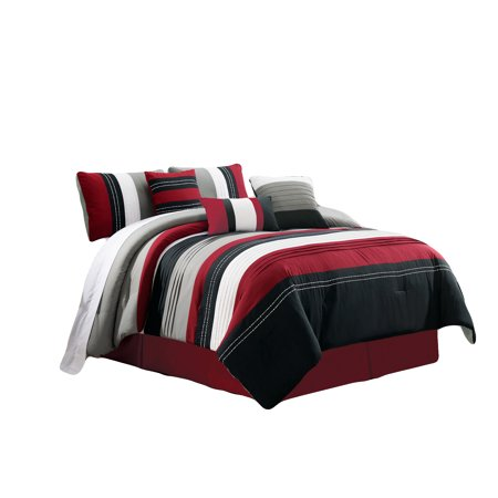 11-Pc Jordan Embroidery Pleated Stripe Lines Comforter Curtain Set Burgundy Black White Gray Queen](Gray And White Jordans)