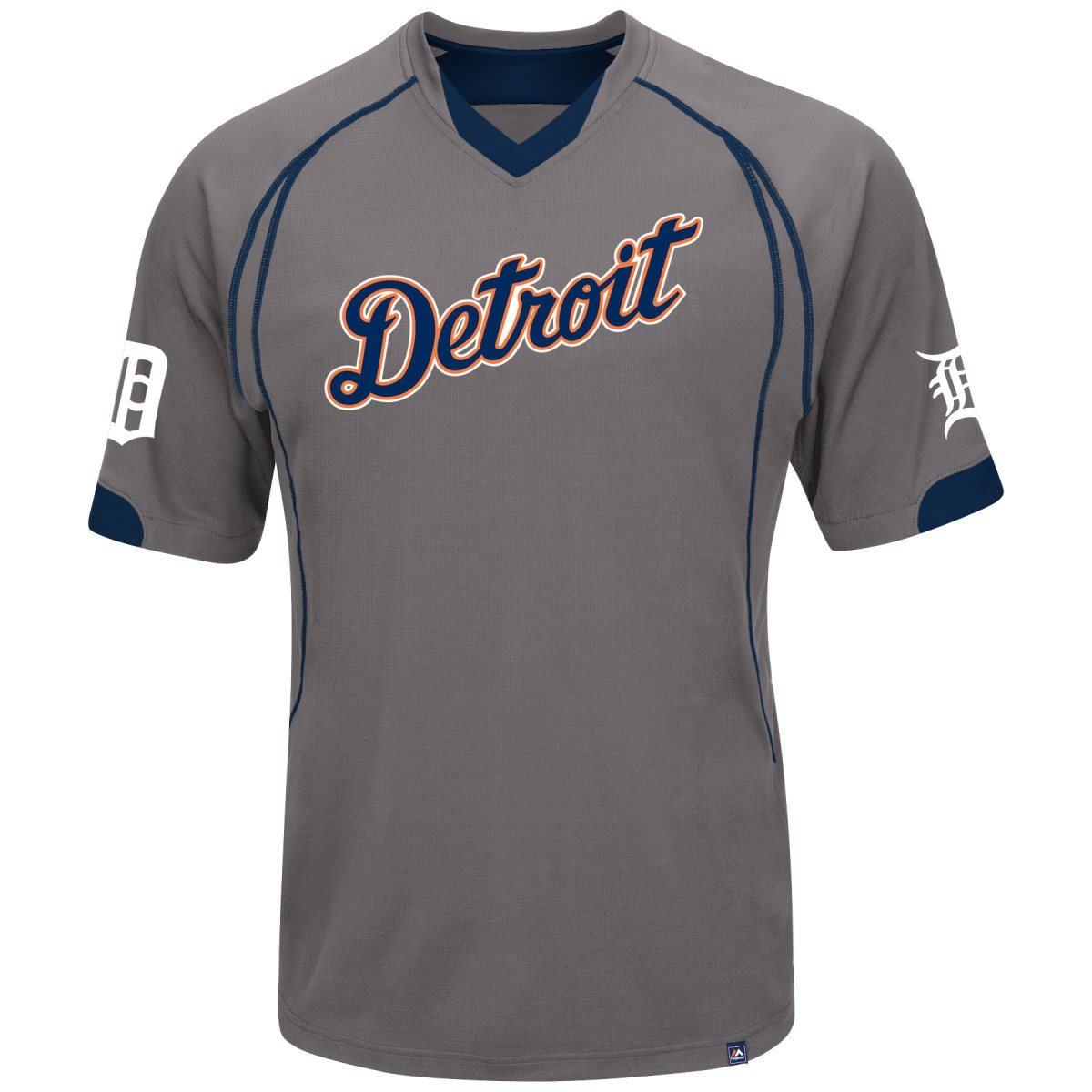 "Detroit Tigers Majestic MLB ""Lead Hitter"" V-Neck Fashion Jersey - Charcoal"