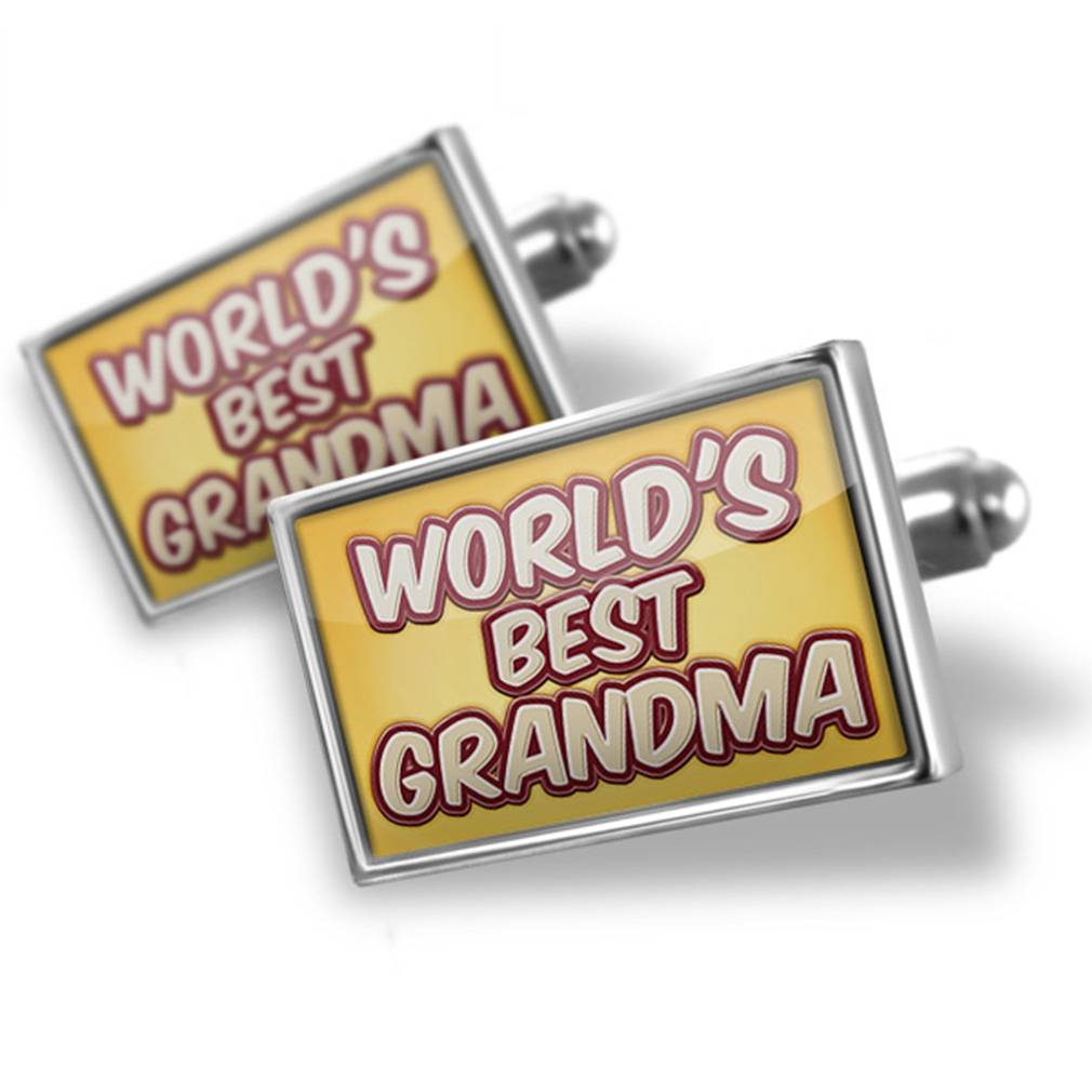 Cufflinks Worlds best Grandma, happy yellow - NEONBLOND