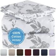 Mellanni Queen Jersey Sheet Set 4 pc - 300 Thread Count 100% Cotton Bed Sheets - Soft, Comfortable, All Season Bedding - Deep Pocket - T-Shirt Sheets (Queen, Watercolor Floral)