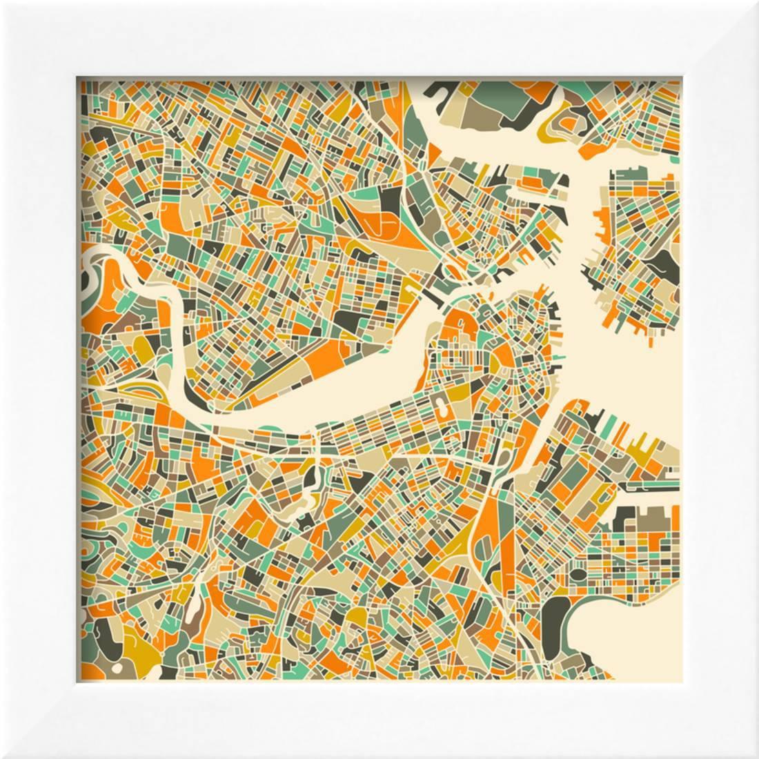Boston Map Framed Art Print Wall Art By Jazzberry Blue Walmart Com