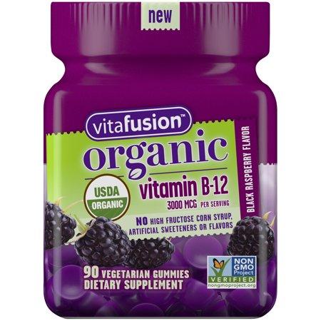 Vitafusion Organic B12 Gummy Vitamin, 90 Count - Non-GMO, Gluten-Free, No Gelatin, No HFCS ()