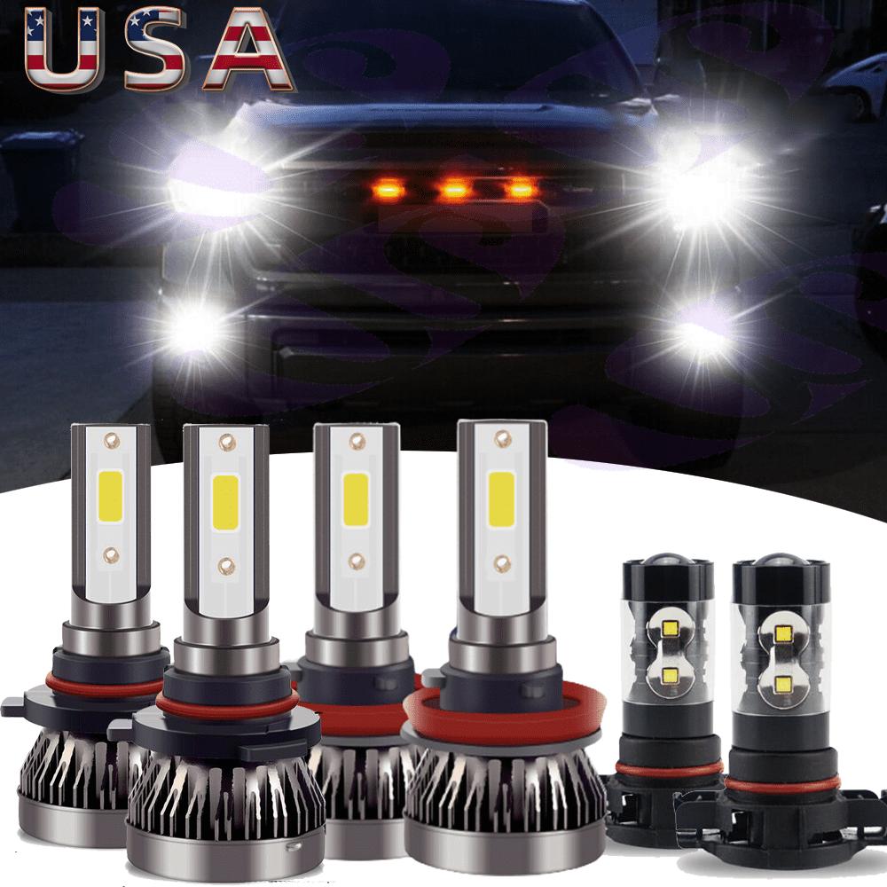 6x H11 9005 LED Headlight+5202 Fog Light 1500 2500 2007-2015 for Chevy Silverado